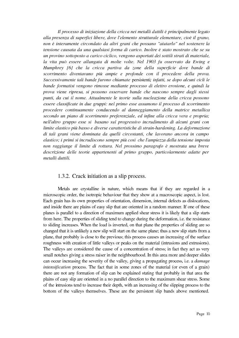 Anteprima della tesi: Previsione della durata a fatica su provino SAE utilizzando un approccio combinato di fatica oligociclica e meccanica della frattura, Pagina 10