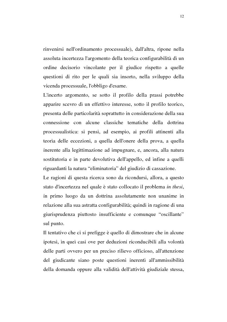Anteprima della tesi: La pregiudizialità tra le questioni del processo, Pagina 5