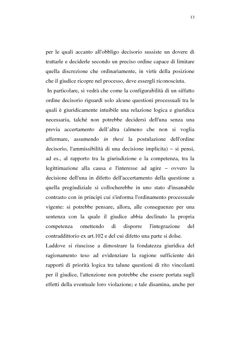 Anteprima della tesi: La pregiudizialità tra le questioni del processo, Pagina 6