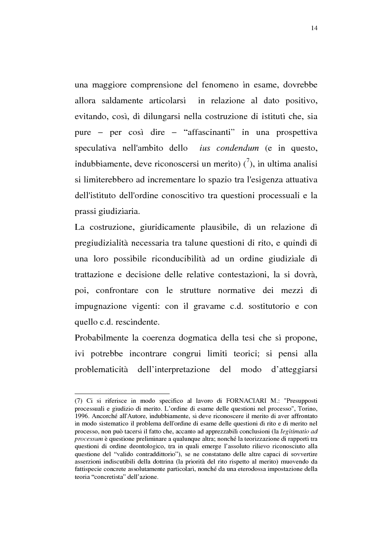 Anteprima della tesi: La pregiudizialità tra le questioni del processo, Pagina 7