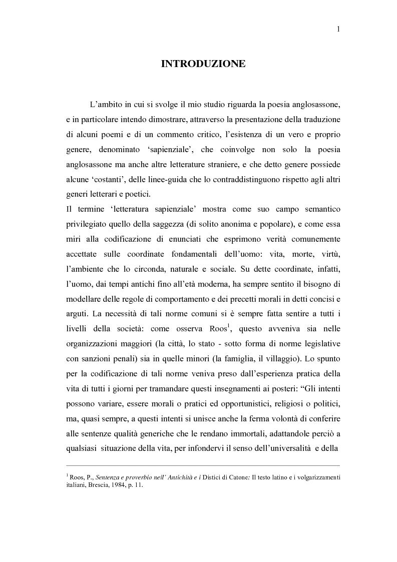 Anteprima della tesi: 'Wisdom of Many and the Wit of One' - Antologia di versi gnomici anglosassoni, Pagina 1