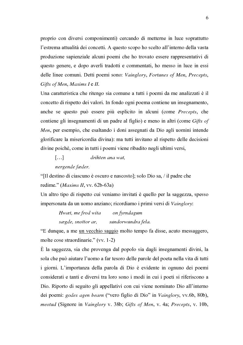 Anteprima della tesi: 'Wisdom of Many and the Wit of One' - Antologia di versi gnomici anglosassoni, Pagina 6