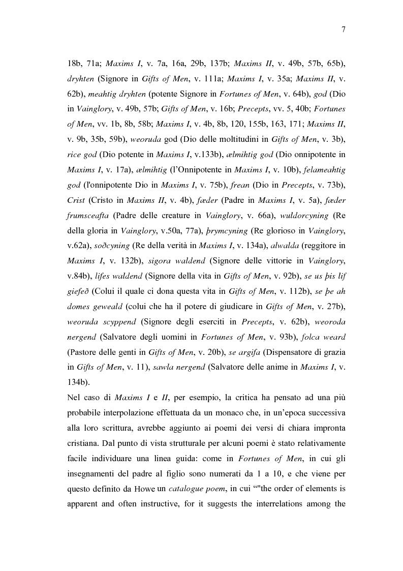 Anteprima della tesi: 'Wisdom of Many and the Wit of One' - Antologia di versi gnomici anglosassoni, Pagina 7