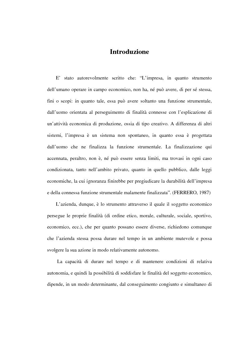 Anteprima della tesi: L'analisi della performance economico-finanziaria mediante software di gestione di fogli elettronici. Il caso della CTP s.p.a. di Napoli, Pagina 1