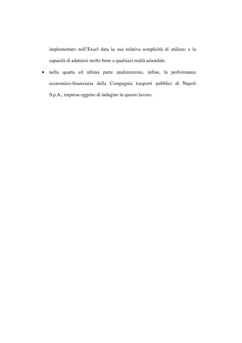 Anteprima della tesi: L'analisi della performance economico-finanziaria mediante software di gestione di fogli elettronici. Il caso della CTP s.p.a. di Napoli, Pagina 4