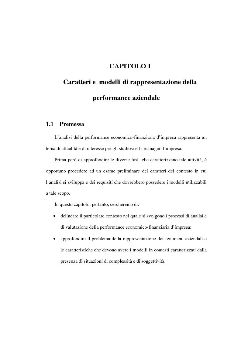 Anteprima della tesi: L'analisi della performance economico-finanziaria mediante software di gestione di fogli elettronici. Il caso della CTP s.p.a. di Napoli, Pagina 5