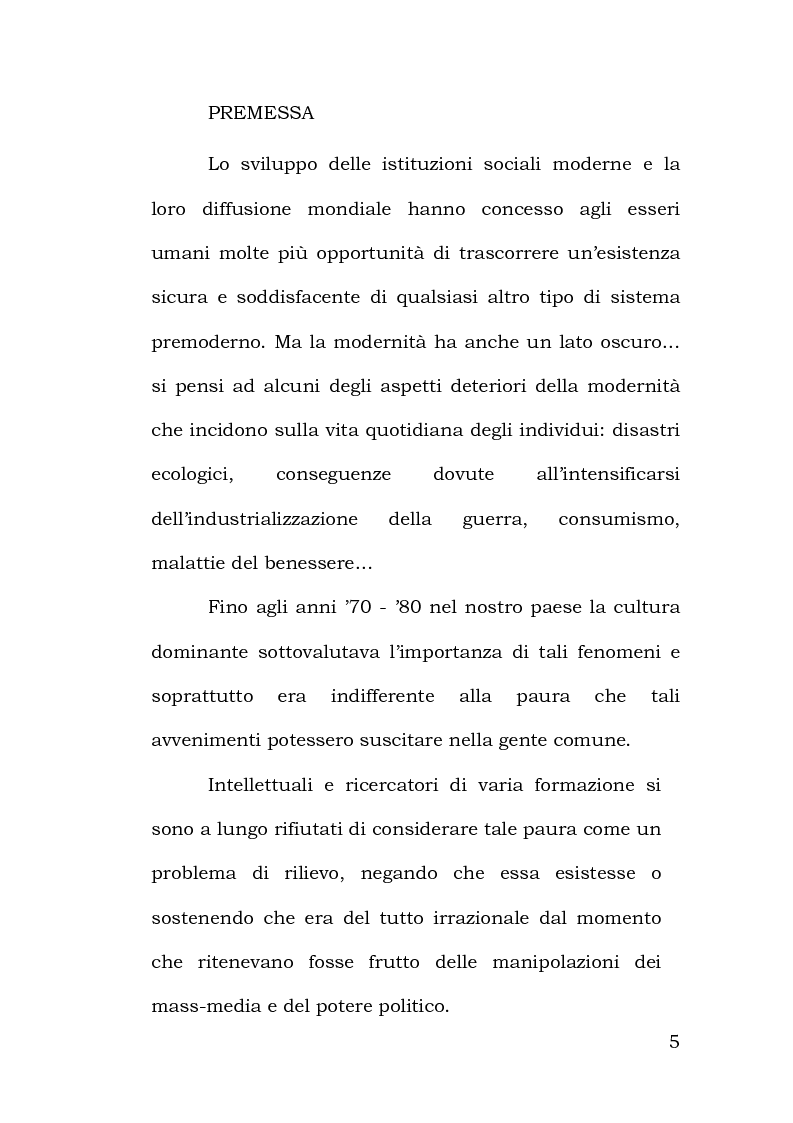 Anteprima della tesi: Confronto tra metodi di rilevazione in un'indagine sulla percezione della pericolosità, Pagina 1