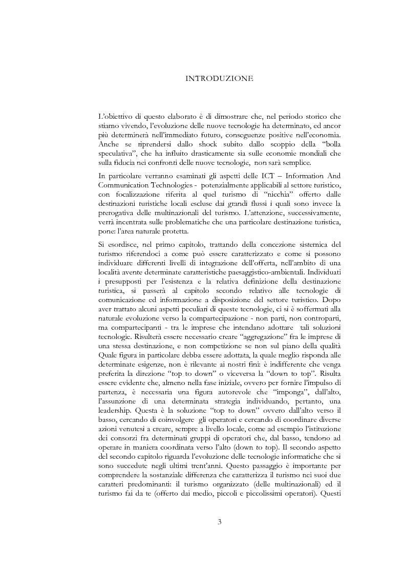Anteprima della tesi: Information and communication technologies e turismo. Destination management system ed aree naturali protette, Pagina 1