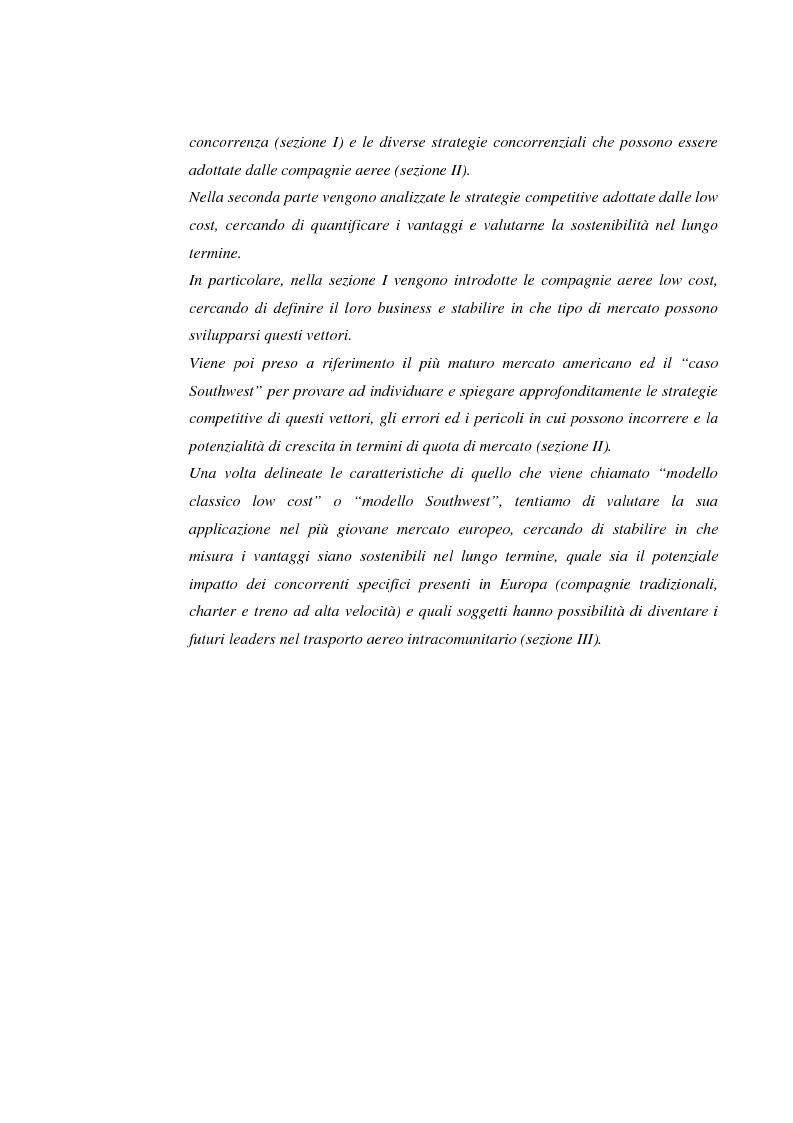 Anteprima della tesi: Le compagnie aeree ''low cost'' negli Stati Uniti ed in Europa. Le strategie competitive di costo dei vettori del futuro, Pagina 5