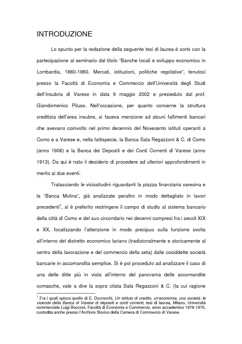 Anteprima della tesi: Le accomandite bancarie comasche tra '800 e '900: le vicende della ditta Sala Regazzoni & C., già Mariani Sala & C., Pagina 1