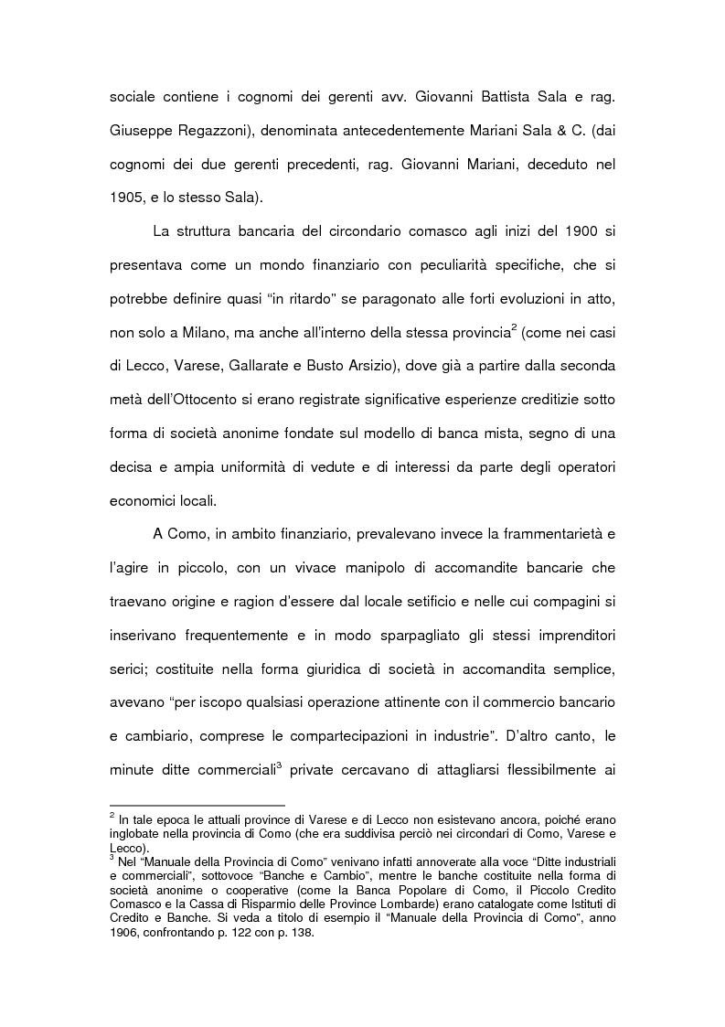 Anteprima della tesi: Le accomandite bancarie comasche tra '800 e '900: le vicende della ditta Sala Regazzoni & C., già Mariani Sala & C., Pagina 2