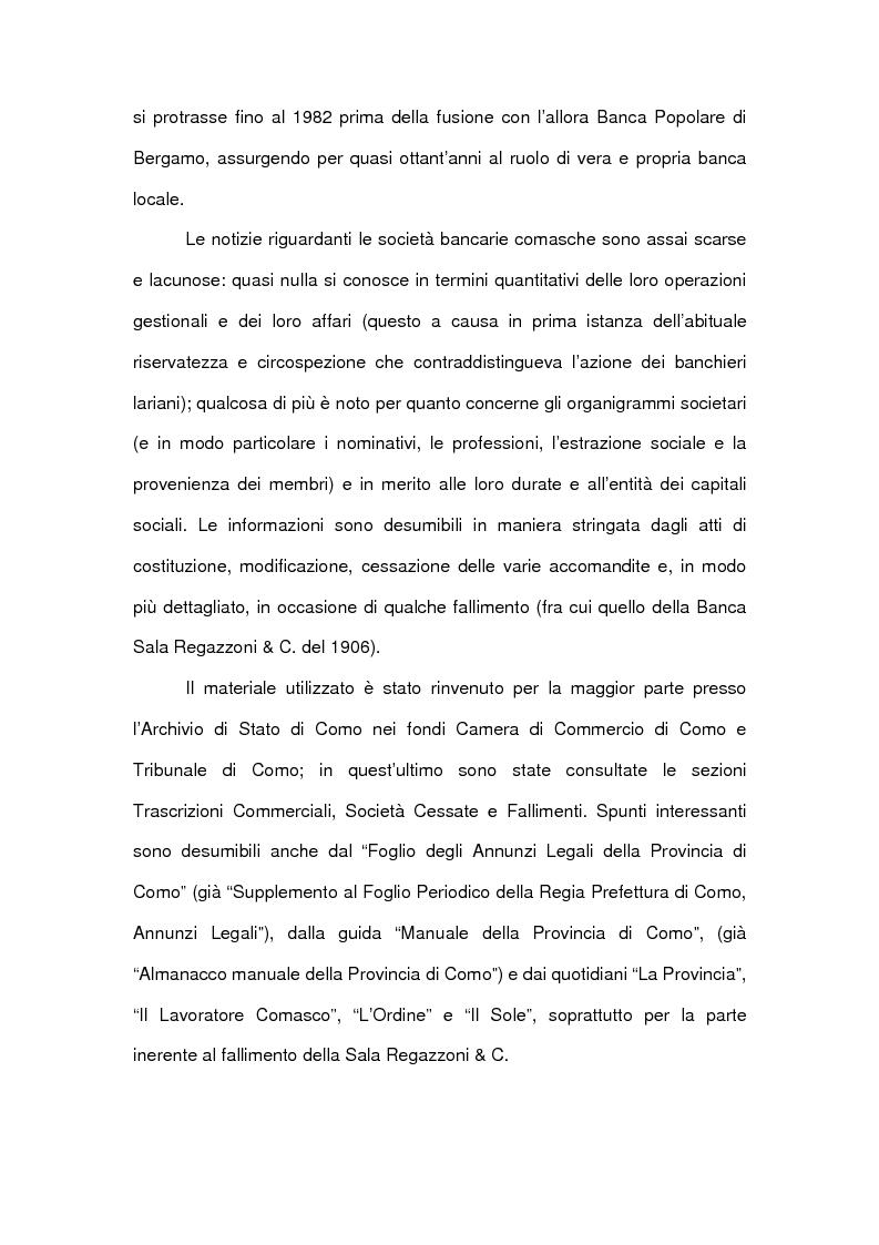 Anteprima della tesi: Le accomandite bancarie comasche tra '800 e '900: le vicende della ditta Sala Regazzoni & C., già Mariani Sala & C., Pagina 5