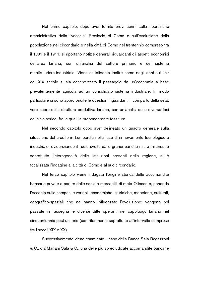 Anteprima della tesi: Le accomandite bancarie comasche tra '800 e '900: le vicende della ditta Sala Regazzoni & C., già Mariani Sala & C., Pagina 6