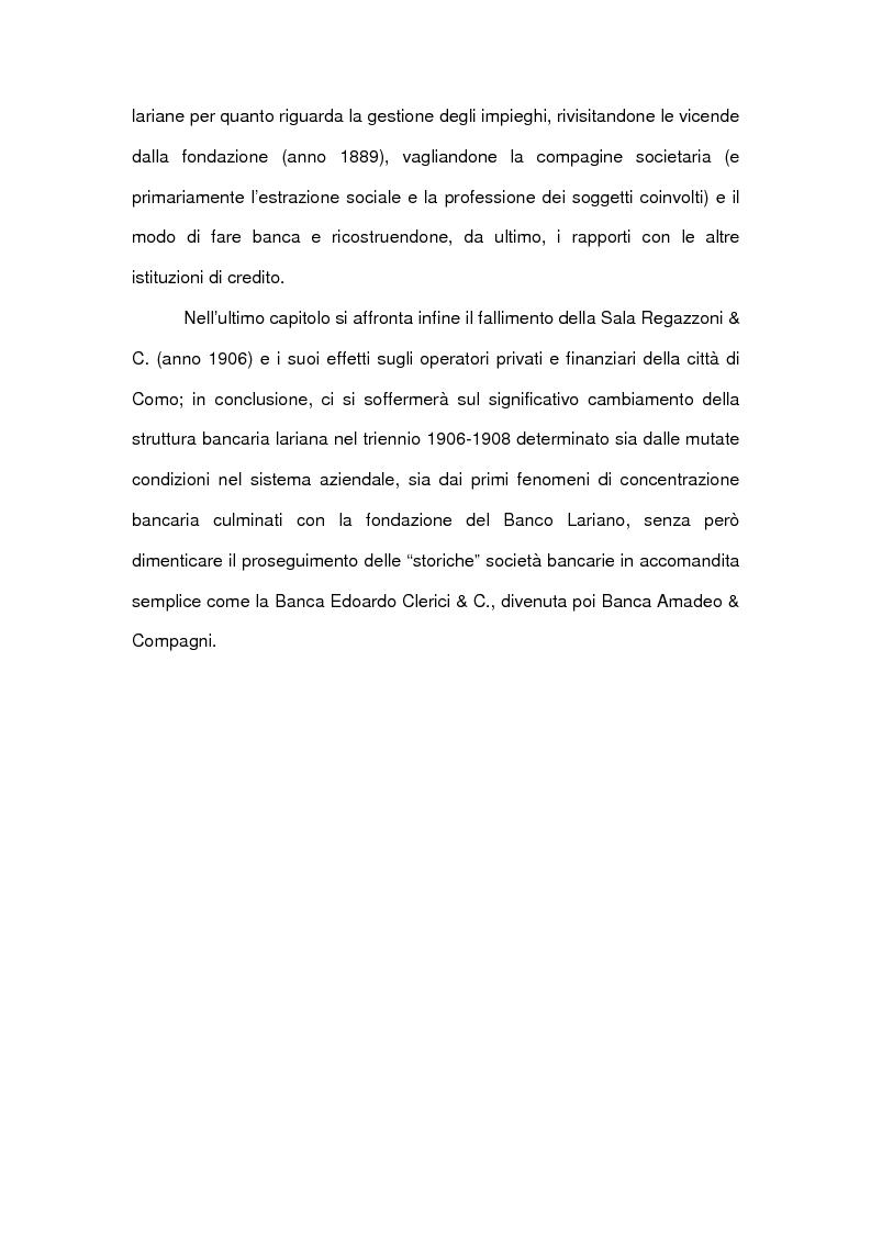 Anteprima della tesi: Le accomandite bancarie comasche tra '800 e '900: le vicende della ditta Sala Regazzoni & C., già Mariani Sala & C., Pagina 7