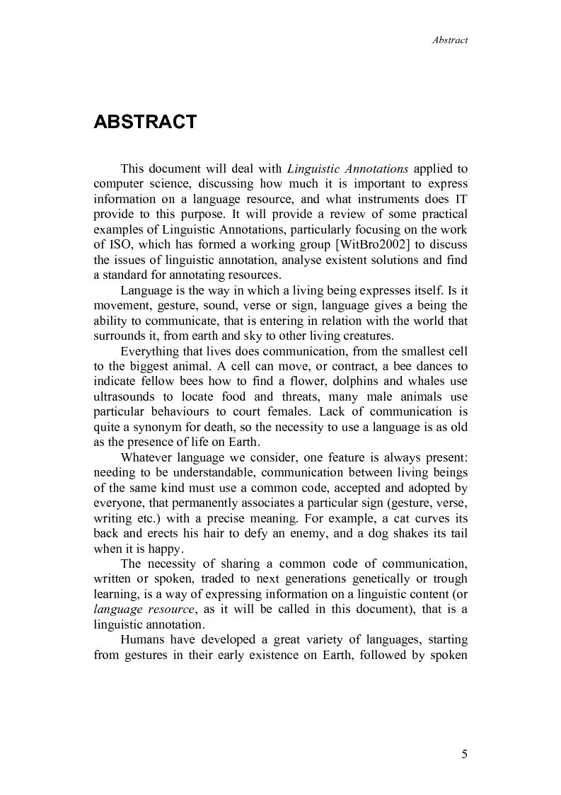 Anteprima della tesi: Annotazioni linguistiche: una rassegna, Pagina 1
