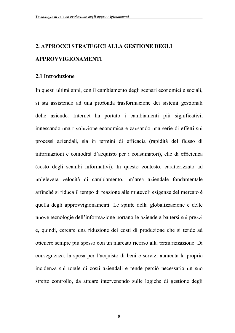 Anteprima della tesi: Tecnologie di rete ed evoluzione degli approvvigionamenti: l'e-procurement, Pagina 5