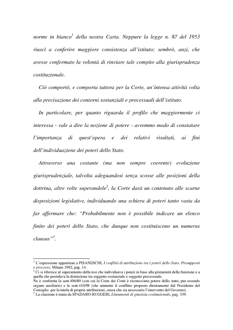 Anteprima della tesi: I conflitti interorganici (la nozione di potere nella giurisprudenza costituzionale), Pagina 2