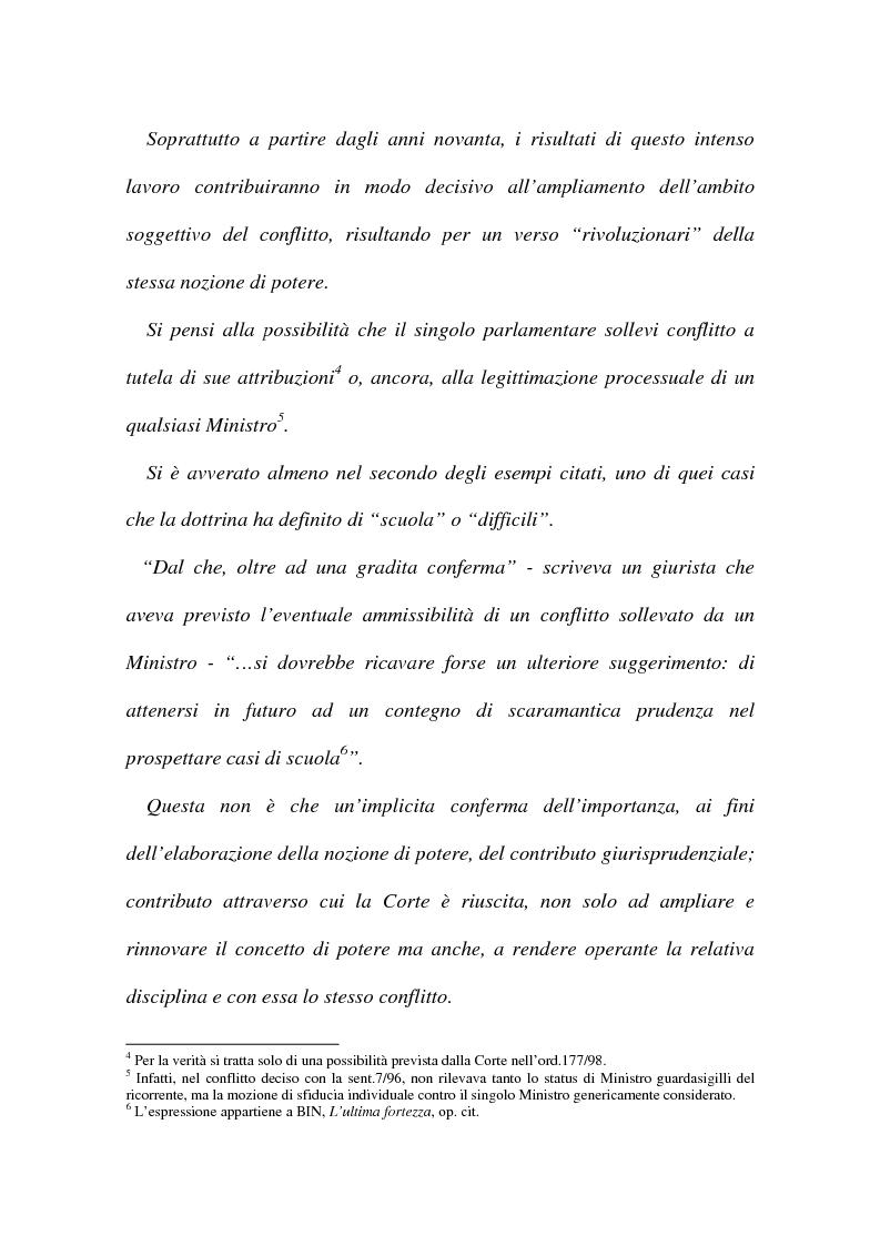 Anteprima della tesi: I conflitti interorganici (la nozione di potere nella giurisprudenza costituzionale), Pagina 3
