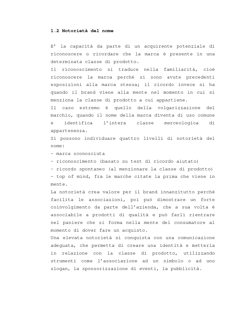 Anteprima della tesi: Costruzione e gestione della marca, Pagina 7