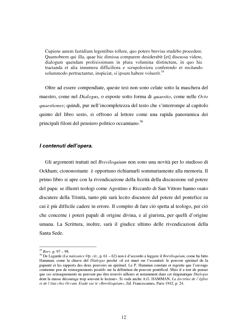 Anteprima della tesi: La Bibbia nel Breviloquium di Ockham. La funzione argomentativa delle citazioni scritturali nel dibattito tra Ockham e i sostenitori della teocrazia pontificia, Pagina 10