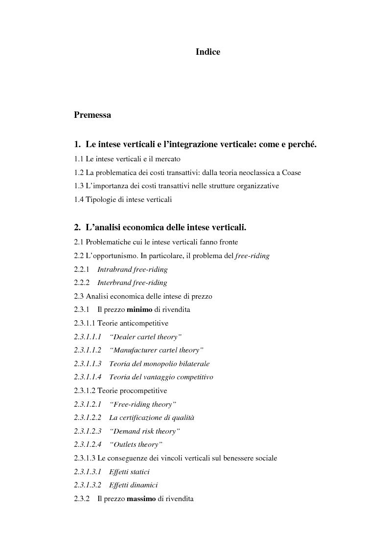 Indice della tesi: Problemi relativi alla fissazione del prezzo di rivendita nelle intese verticali, Pagina 1