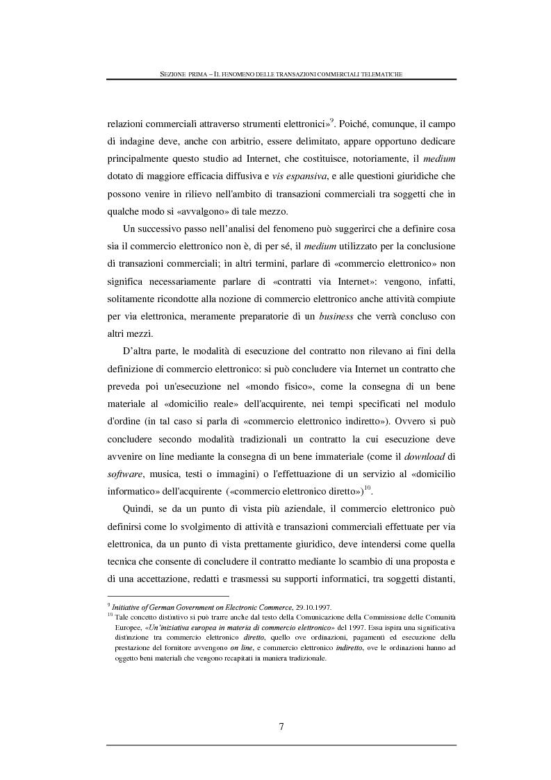 Anteprima della tesi: Tutela legale nelle transazioni commerciali effettuate tramite reti telematiche, Pagina 7
