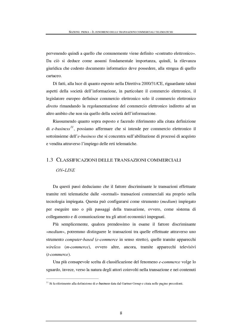 Anteprima della tesi: Tutela legale nelle transazioni commerciali effettuate tramite reti telematiche, Pagina 8