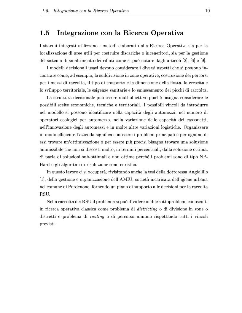 Anteprima della tesi: Determinazione e ottimizzazione dei percorsi di raccolta per i mezzi di un'azienda di igiene urbana: il caso dell'Amiu di Pordenone, Pagina 10
