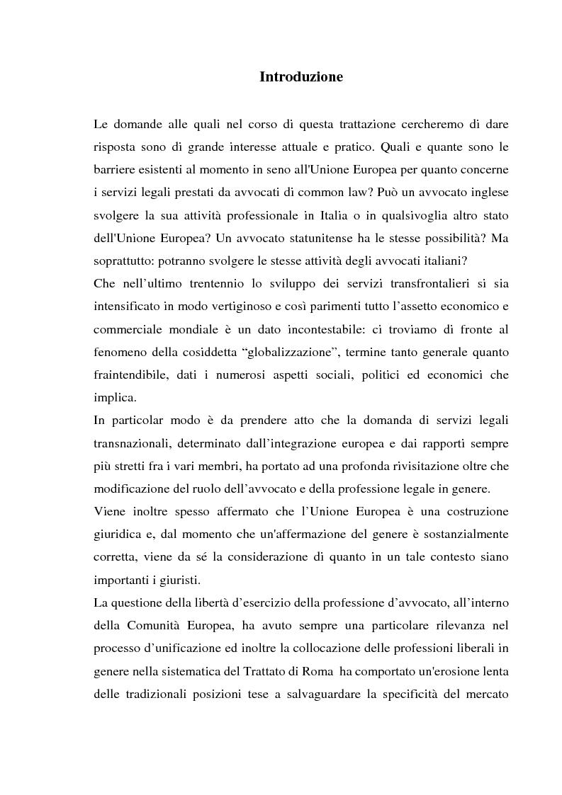 Anteprima della tesi: L'esercizio della professione forense da parte di avvocati di common law in Italia, Pagina 1