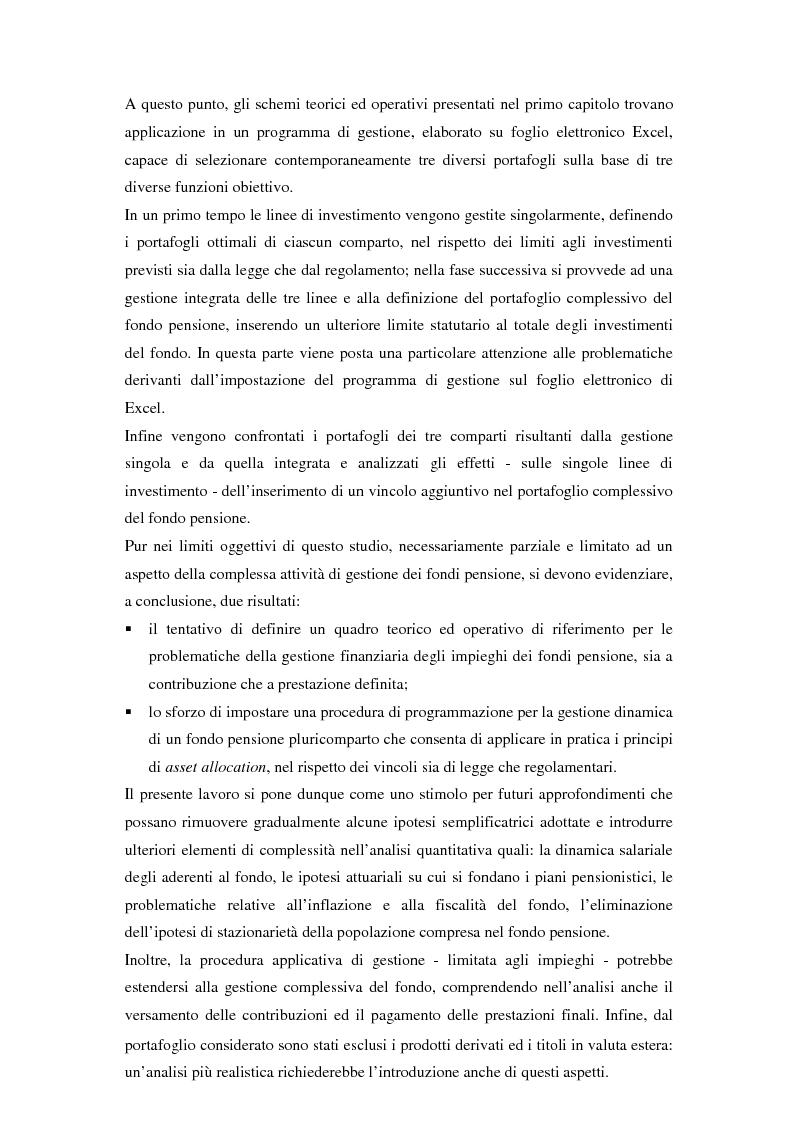 Anteprima della tesi: Gestione di un portafoglio complesso di un fondo pensione in tempo continuo. Aspetti teorici e uno schema applicativo, Pagina 3