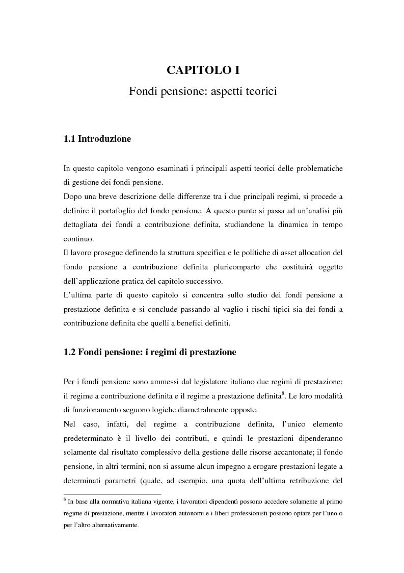 Anteprima della tesi: Gestione di un portafoglio complesso di un fondo pensione in tempo continuo. Aspetti teorici e uno schema applicativo, Pagina 9