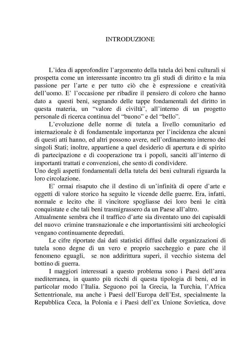 Anteprima della tesi: La circolazione dei beni culturali nella Comunità europea, Pagina 1