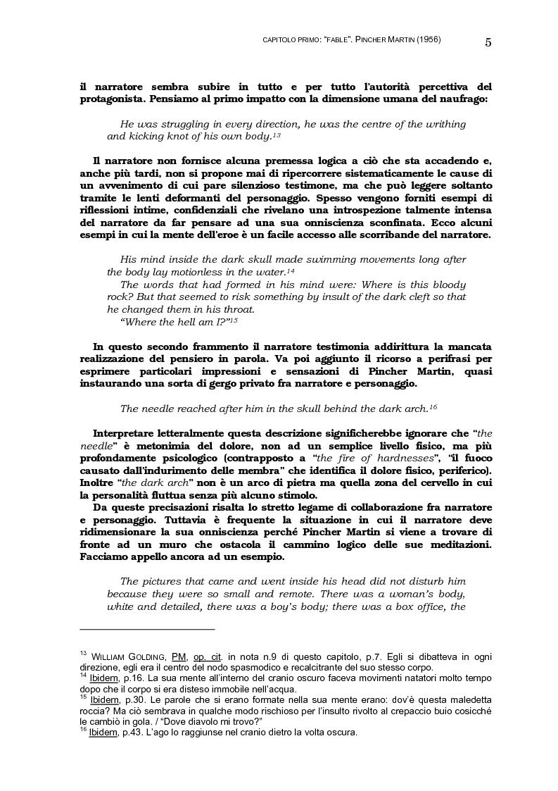 Anteprima della tesi: Lo sviluppo della tecnica metaforica ed il ruolo del narratore in quattro opere del primo William Golding: ''The Inheritors''(1955), ''Pincher Martin''(1956), ''Free Fall''(1959) e ''The Spire''(1964), Pagina 13