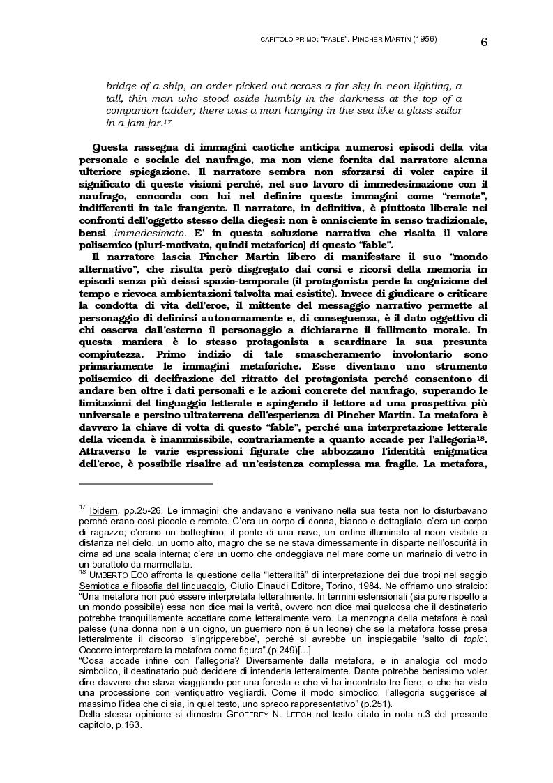 Anteprima della tesi: Lo sviluppo della tecnica metaforica ed il ruolo del narratore in quattro opere del primo William Golding: ''The Inheritors''(1955), ''Pincher Martin''(1956), ''Free Fall''(1959) e ''The Spire''(1964), Pagina 14