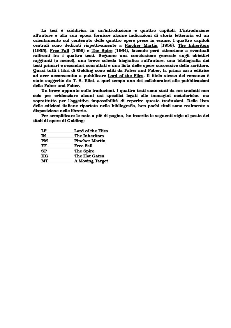 Anteprima della tesi: Lo sviluppo della tecnica metaforica ed il ruolo del narratore in quattro opere del primo William Golding: ''The Inheritors''(1955), ''Pincher Martin''(1956), ''Free Fall''(1959) e ''The Spire''(1964), Pagina 2
