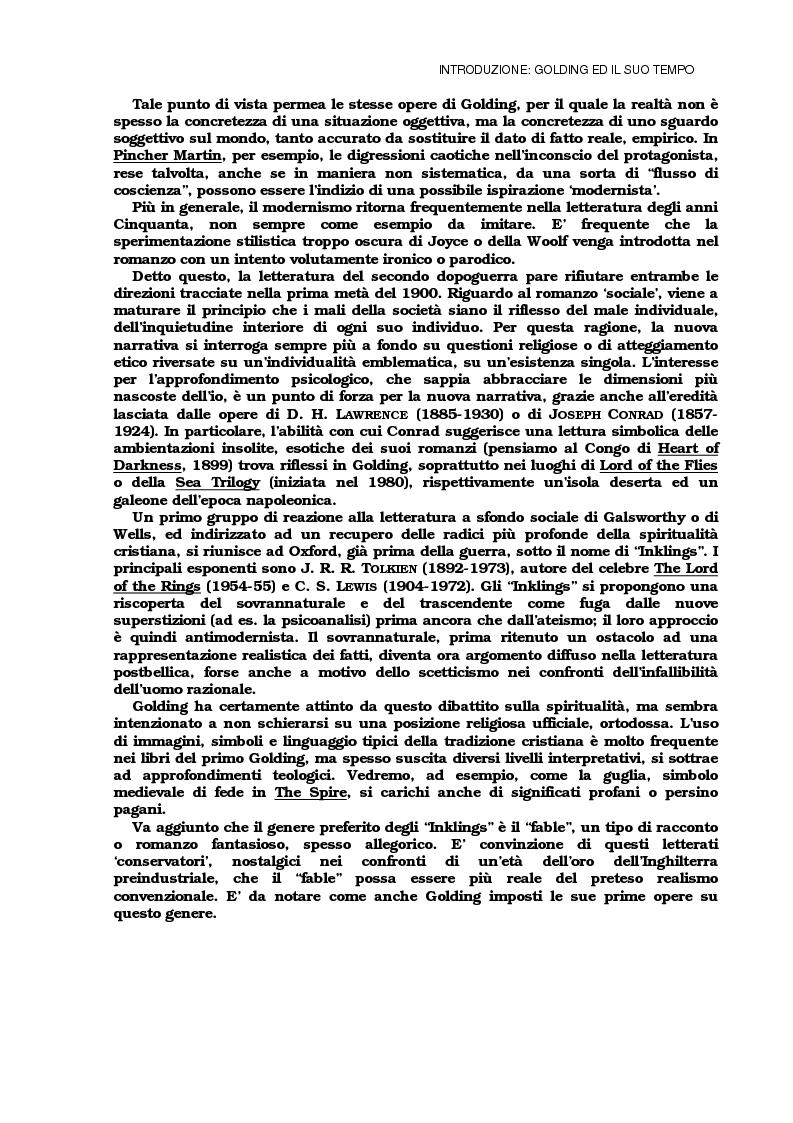 Anteprima della tesi: Lo sviluppo della tecnica metaforica ed il ruolo del narratore in quattro opere del primo William Golding: ''The Inheritors''(1955), ''Pincher Martin''(1956), ''Free Fall''(1959) e ''The Spire''(1964), Pagina 4