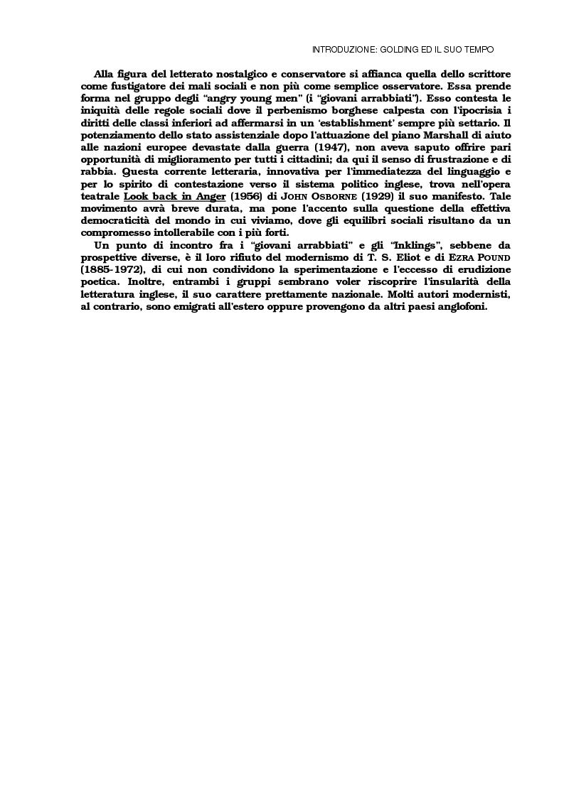 Anteprima della tesi: Lo sviluppo della tecnica metaforica ed il ruolo del narratore in quattro opere del primo William Golding: ''The Inheritors''(1955), ''Pincher Martin''(1956), ''Free Fall''(1959) e ''The Spire''(1964), Pagina 5