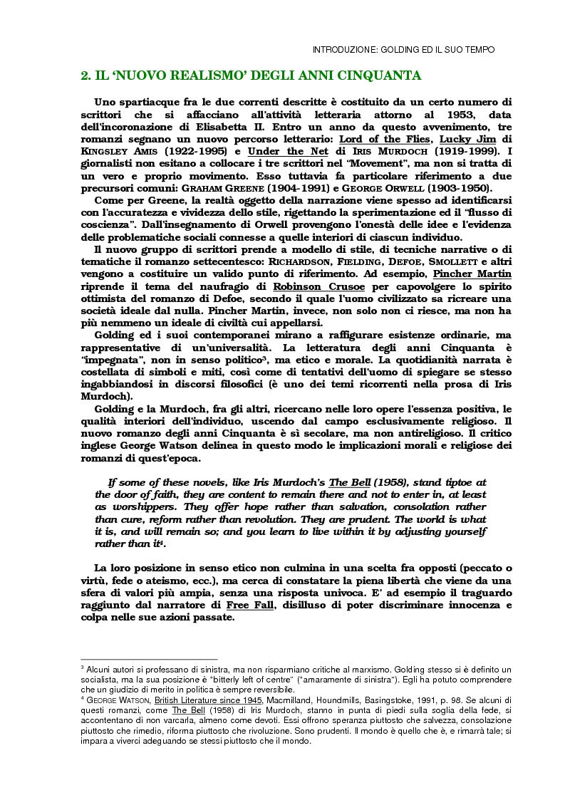 Anteprima della tesi: Lo sviluppo della tecnica metaforica ed il ruolo del narratore in quattro opere del primo William Golding: ''The Inheritors''(1955), ''Pincher Martin''(1956), ''Free Fall''(1959) e ''The Spire''(1964), Pagina 6