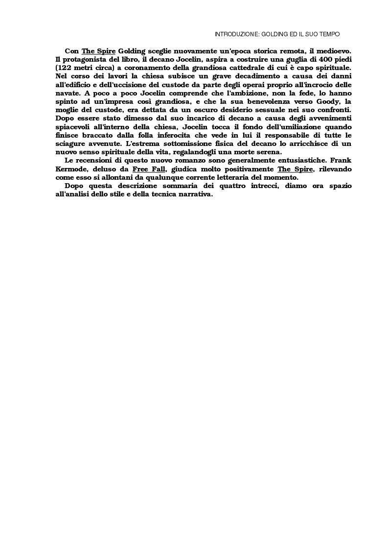 Anteprima della tesi: Lo sviluppo della tecnica metaforica ed il ruolo del narratore in quattro opere del primo William Golding: ''The Inheritors''(1955), ''Pincher Martin''(1956), ''Free Fall''(1959) e ''The Spire''(1964), Pagina 8