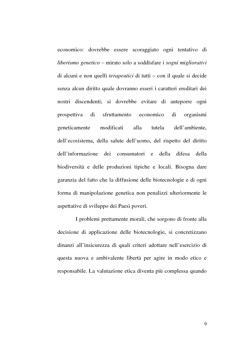 Anteprima della tesi: Problemi etici connessi alle biotecnologie: l'ambivalenza di Faust, Pagina 4