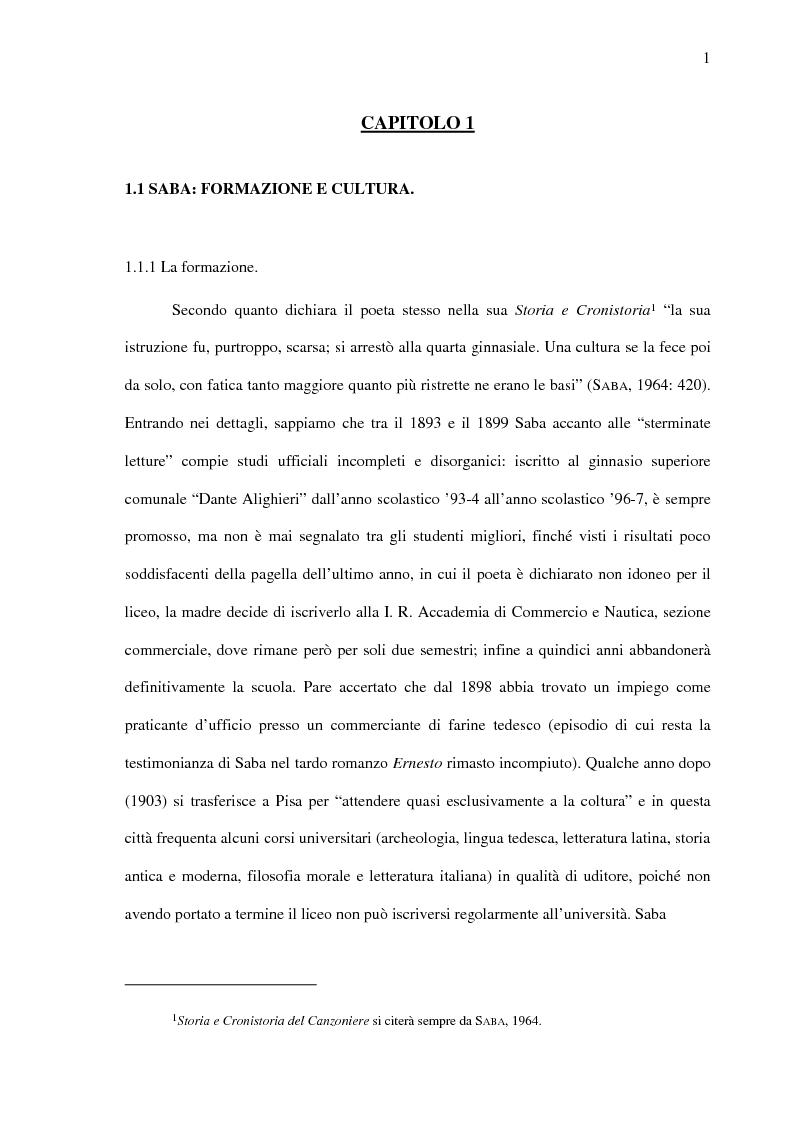 Anteprima della tesi: Saba prima del ''Canzoniere'': ''Poesie'' (1911), Pagina 3