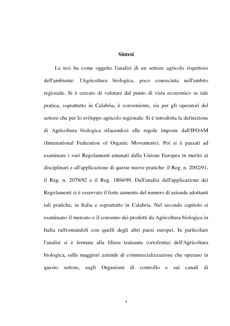 Anteprima della tesi: Le prospettive di sviluppo dell'agricoltura biologica in Calabria, Pagina 1