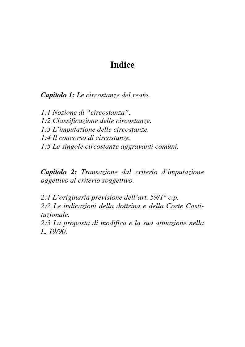 Indice della tesi: Il nuovo regime d'imputazione delle circostanze aggravanti, Pagina 1