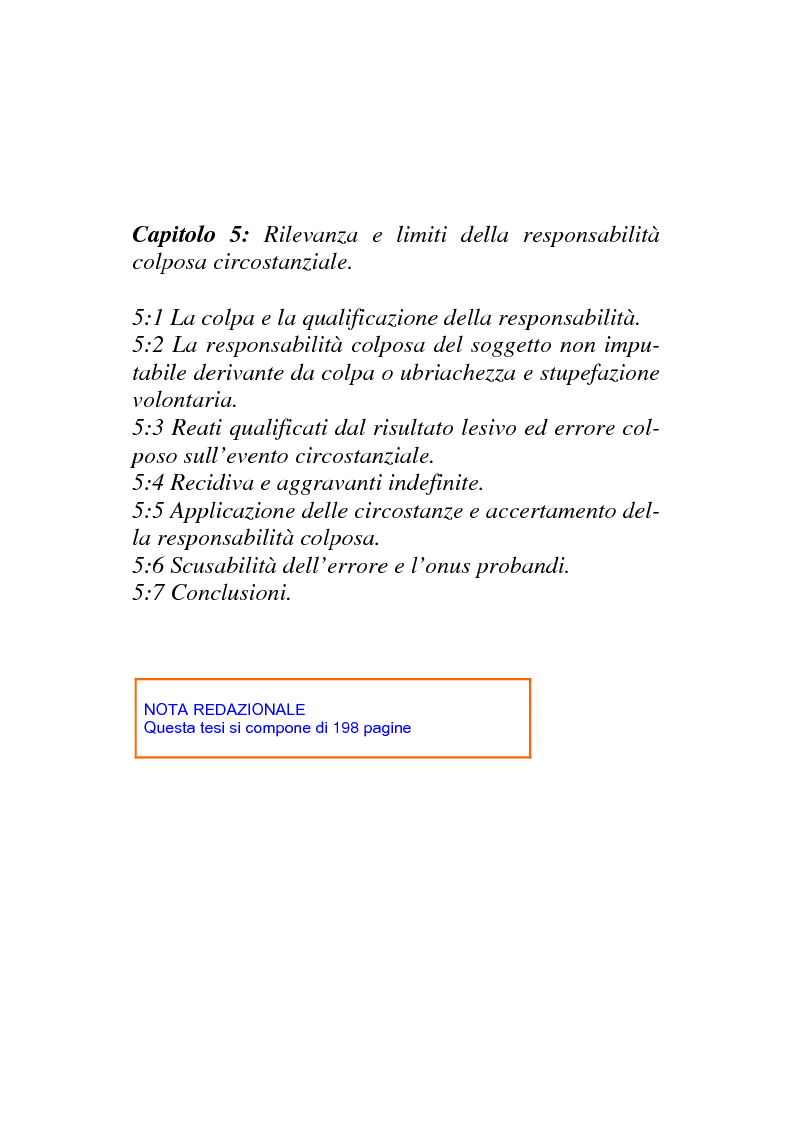 Indice della tesi: Il nuovo regime d'imputazione delle circostanze aggravanti, Pagina 3
