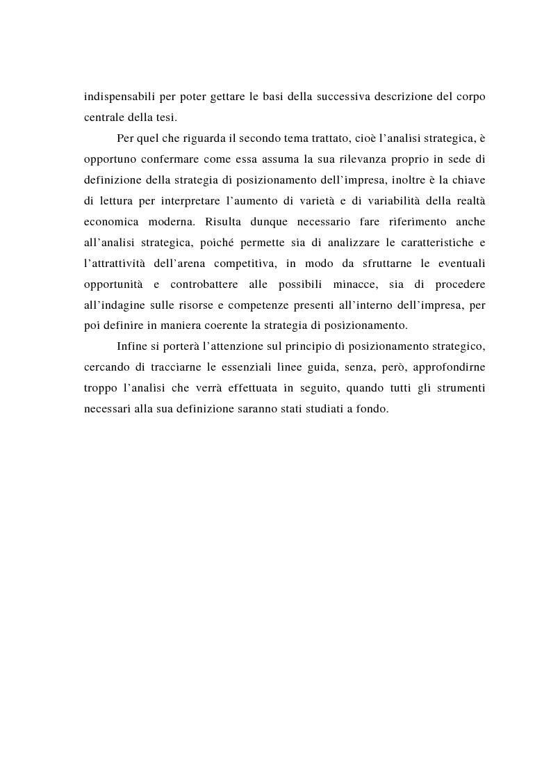 Anteprima della tesi: Il posizionamento strategico come fonte del vantaggio competitivo, Pagina 6