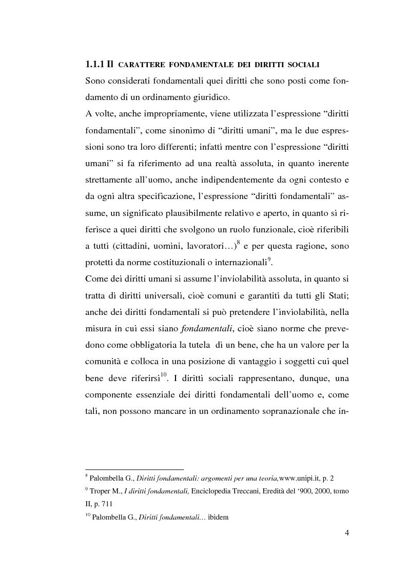 Anteprima della tesi: I diritti sociali e l'Unione europea, Pagina 4