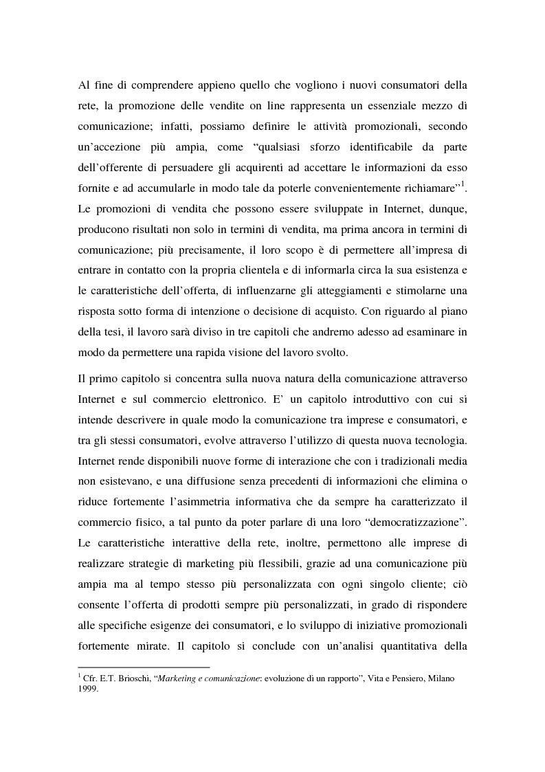 Anteprima della tesi: La promozione delle vendite on line: strategie e tecniche, Pagina 3