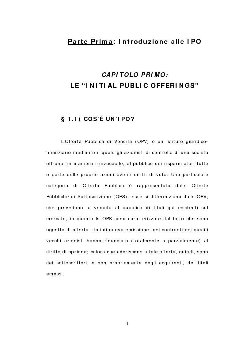 Anteprima della tesi: Ipo: un'analisi delle dinamiche interne e del ruolo dei soggetti coinvolti, Pagina 4