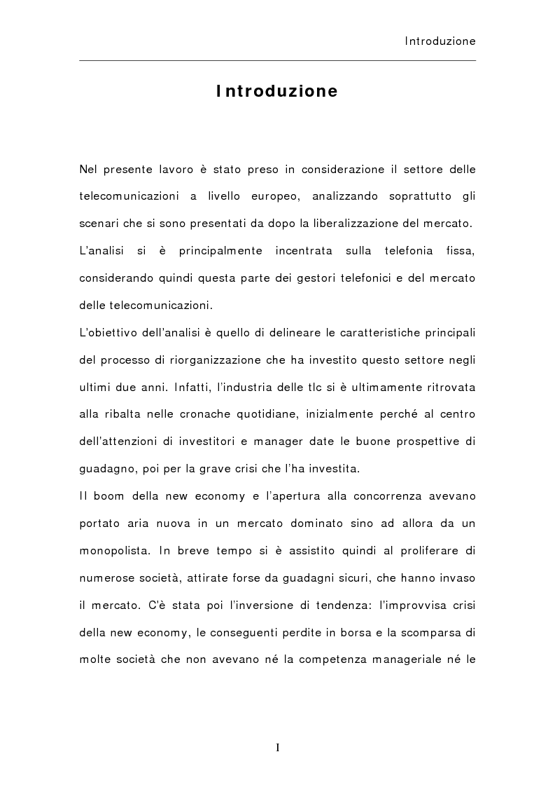 Anteprima della tesi: La riorganizzazione del settore delle telecomunicazioni in Europa, Pagina 1