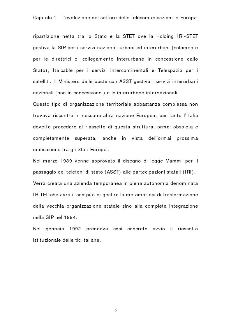 Anteprima della tesi: La riorganizzazione del settore delle telecomunicazioni in Europa, Pagina 12